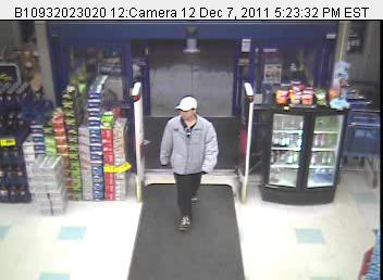 Surveillance photograph of the suspect in a robbery at Rite Aid in Winthrop Wednesday.