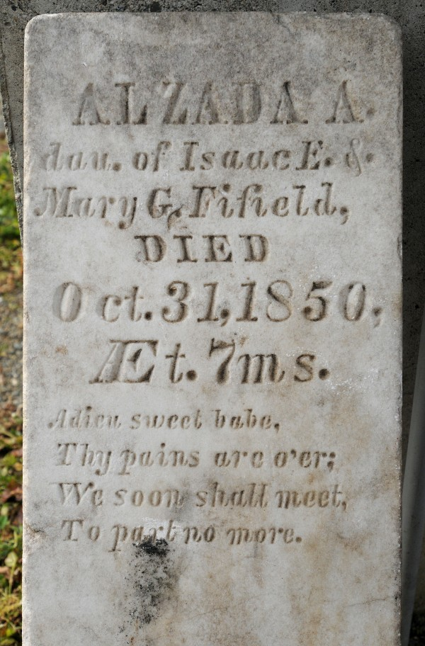 The 161-year-old gravestone for Alzada A. Fifield, a 7-month-old girl who died on Oct. 3, 1850, daughter of Isaac E. and Mary C. Fifield, had sat for years with two other stolen grave markers in a Penobscot County Sheriff's Department evidence room, but recently was returned to the girl's hometown of Bradford.