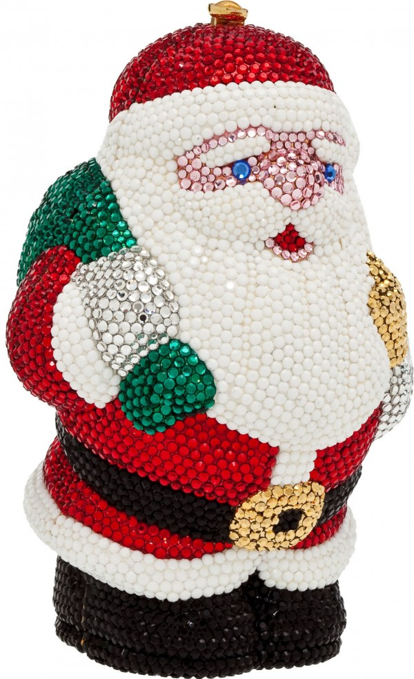 The fully jeweled Santa evening bag by Katherine Baumann brought $1,553.50 in a recent sale of luxury accessories at Heritage Auctions in Dallas.