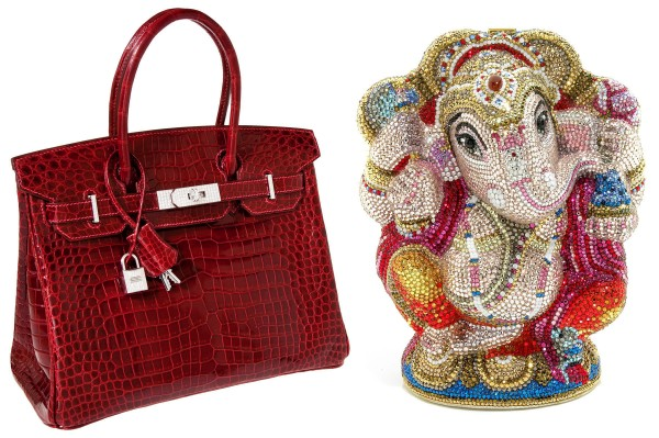 Two lucky bidders will get their bling on for 2012: The red croc Hermes Birkin bag with white gold hardware and diamond accents sold for $203,150 at Heritage Auctions this month. The jeweled Ganesh minaudiere brought $7,500 at Bonhams in Los Angeles.