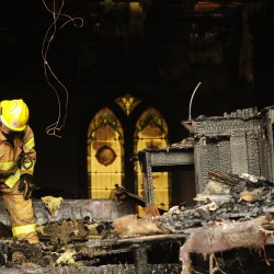 Amish neighbors help rebuild burned-out church in Thorndike