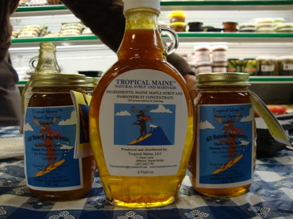 Tropical Maine, a proprietary blend of Maine maple syrup and passion fruit.