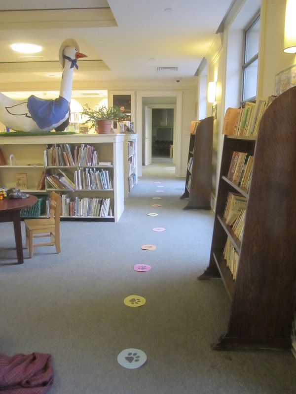 A trail of pawprints leads to the reading corner with Rebecca Henderson's Listening Lab.