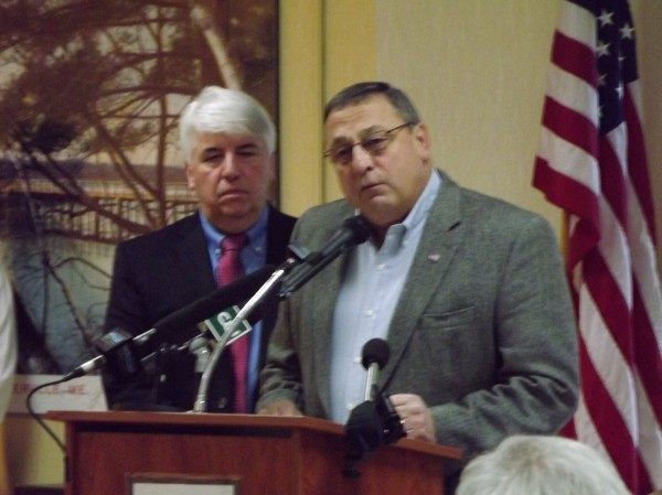 Gov. Paul LePage speaks to a crowd at the 26th annual Martin Luther King, Jr. Community Breakfast at the Muskie Community Center in Waterville on Monday, Jan. 16, 2012.