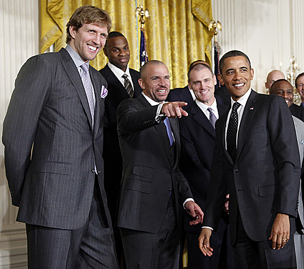 President Barack Obama watches as Dallas Mavericks Jason Kidd points to teammates in the audience, Monday, Jan., 9, 2012, in the East Room of the White House in Washington, during a ceremony honoring the 2011 NBA basketball champions Dallas Mavericks. From left are, Dirk Nowitzki, from Germany, Brendan Haywood Kidd and head coach Rick Carlisle. Carlisle was a standout basketball player at the University of Maine for two seasons (1979-80, '80-81) before transferring to Virginia and going on to an NBA career with the Boston Celtics.
