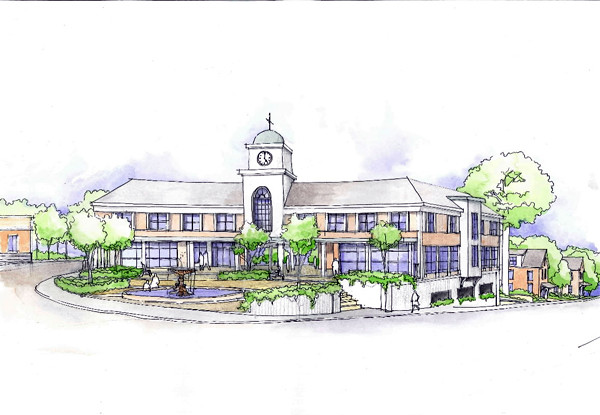Early concept art for the University Credit Union building to be built in downtown Orono.