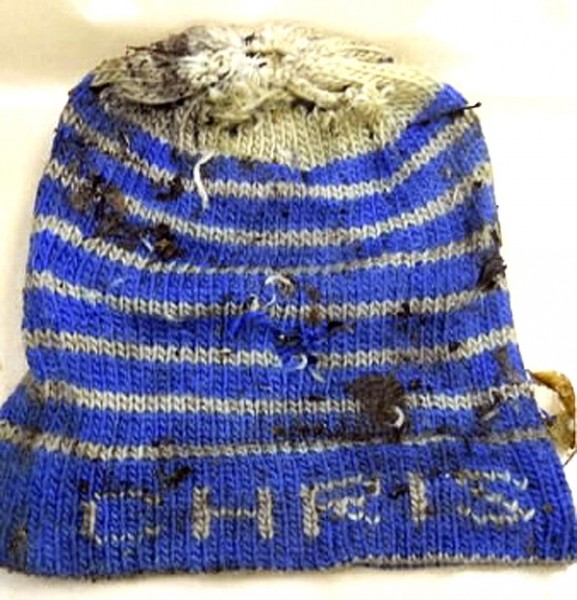 This hat was among the clothing found on a body discovered in Stacyville in November 2010.