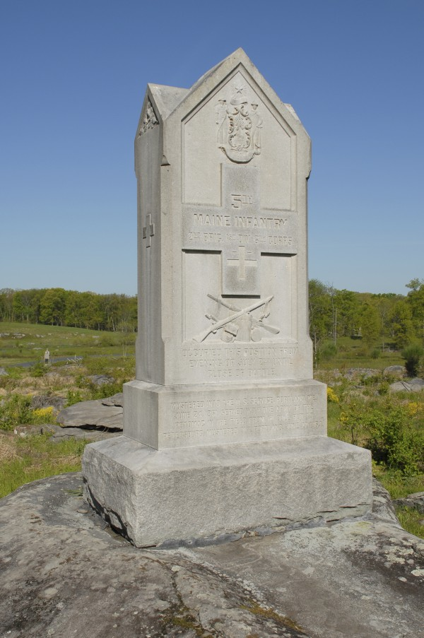 By now a lieutenant in Co. B of the 5th Maine Infantry Regiment, John French arrived with the regiment at Gettysburg late on July 2, 1863. The regiment saw little fighting there; this monument marks the site where the 5th Maine camped that night near Little Round Top.