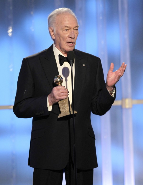 In this image released by NBC, Christopher Plummer accepts award for Best Supporting Actor for a  Motion Picture for his role in &quotBeginners&quot during the 69th Annual Golden Globe Awards, Sunday, Jan. 15, 2012 in Los Angeles.