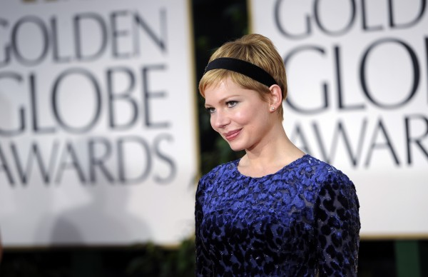 Michelle Williams arrives at the 69th Annual Golden Globe Awards Sunday, Jan. 15, 2012, in Los Angeles.