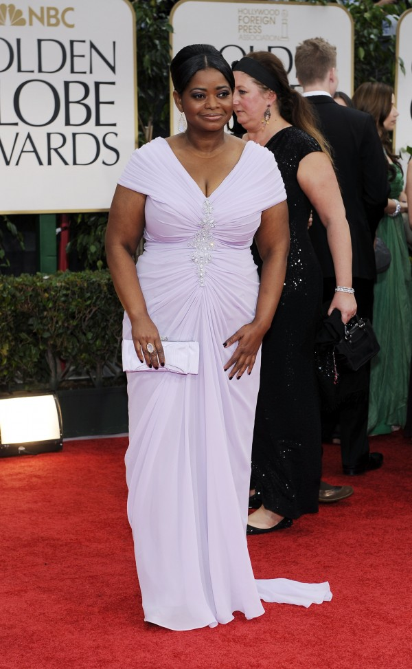 Octavia Spencer arrives at the 69th Annual Golden Globe Awards Sunday, Jan. 15, 2012, in Los Angeles.