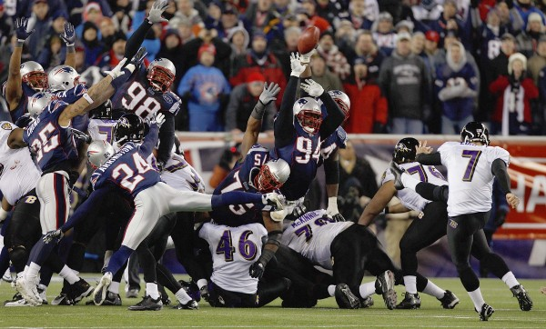 Baltimore Ravens kicker Billy Cundiff (7) misses a 32-yard field goal in the closing seconds of the second half of the AFC Championship NFL football game Sunday, Jan. 22, 2012, in Foxborough, Mass. The Patriots defeated the Ravens 23-20.