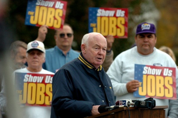 John Sweeney, president of the AFL-CIO, speaks out against President Bush and outsourcing during a news conference outside of the former Eastern Fine Paper in Brewer in 2004.