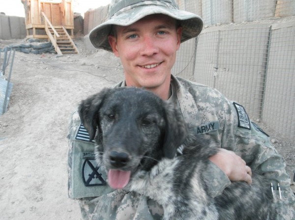 Army Sgt. Adam Hesseltine of Winterport and his dog Rene, who met in Afghanistan.