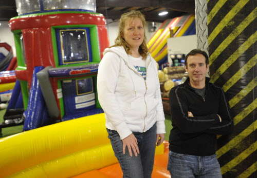 Tina Bouchard and Lenny Holmes opened Playland Adventures Family Entertainment Center on Dec. 30, 2011, on Wilson Street in Brewer. The new play arena, intended for all ages, includes the bounce zone, lagoon of doom, zorb bumper balls, human bowling, arcade attractions and more.