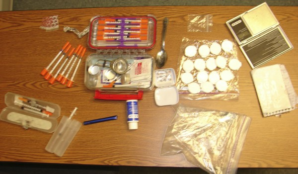 Drugs and drug paraphernalia confiscated as the result of the Jan. 9, 2012, arrests of Jamie Lewis, 36, of Bangor and Andrea Economy, 26, of Brewer on several drug charges. Seized were bath salts and hypodermic needles and other drug paraphernalia.
