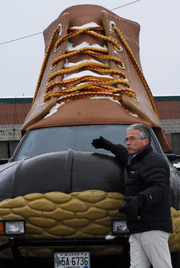 L.L. Bean CEO Chris McCormick at the launch of the company's 100th anniversary with a new 'boot-mobile' that will travel today, Jan. 17, 2012, down to New York City, with planned stops tomorrow at Times Square. The boot is 13 feet tall, 20.6 feet long and 7.6 feet wide, and works out to a size 747.