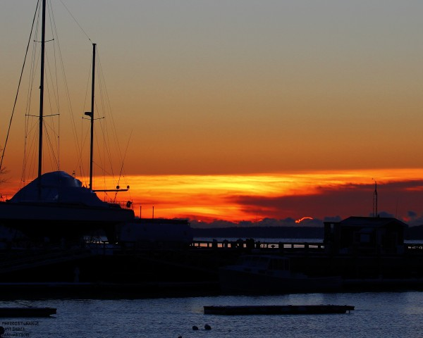 A spectacular sunrise over Camden Harbor.