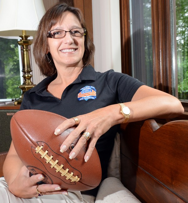 Allison (Cummings) Melangton is seen at her parents' home in Auburn last year. For four years, she has been planning Sunday's Super Bowl. The 1979 graduate of Edward Little High School is president and CEO of the 2012 Indianapolis Super Bowl Host Committee.