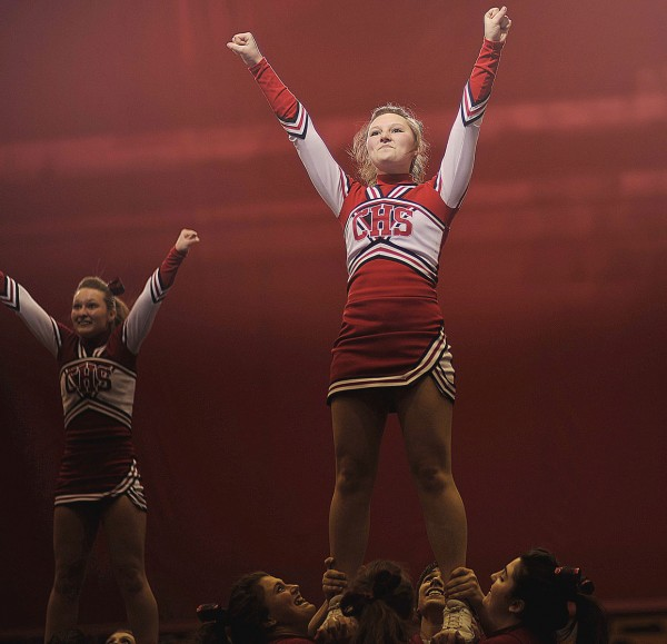 The Class C Central High School cheerleaders perform their second-place routine during the Eastern Maine championships Saturday Jan. 28, 2012 in Bangor, Maine.