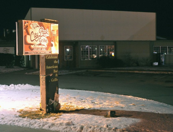 The lighted sign and exterior of the City Park Grill on Main Street in Old Town, Monday, Jan. 16, 2012.