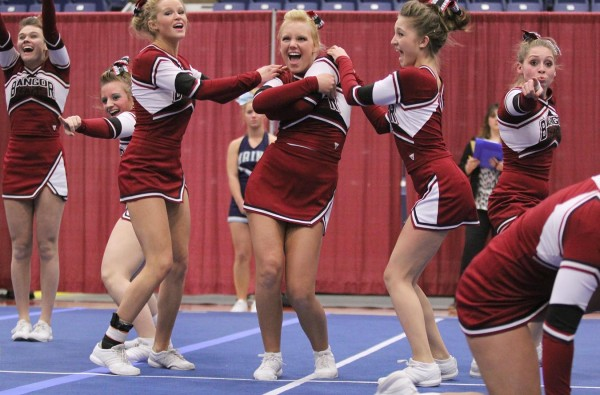 The Bangor High School cheerleading squad performs its routine during Regional Cheerleading Competition at the Augusta Civic Center on Saturday night. Bangor finished in second place with with 148.2 points to qualify for the state championship in Augusta on Feb. 11.