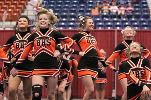 The Brewer High School cheerleading squad performs its routine during Regional Cheerleading Competition at the Augusta Civic Center on Saturday night. Brewer  finished third with with 147 points to qualify for the state championship in Augusta on Feb. 11.