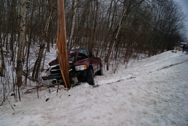 Slushy road conditions Friday, Jan. 27, 2012 played a role in an accident on Route 2 in Milford that send two people to the hospital for treatment of minor injuries and left a Hermon man's pickup truck heavily damaged. Deputy Ray Goodspeed of the Penobscot County Sheriff's Department said that the driver, Corey Eldridge, 26, was driving north when his 2002 Dodge pickup went into a skid and nearly struck an oncoming vehicle. After the truck regained traction, it left the roadway and stuck a utility pole.