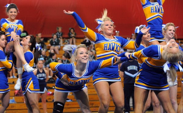 The Hermon High School cheering squad finished second in the Class B Regional Cheerleading Competitions in Bangor Saturday.