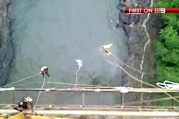 Erin Langworthy plummets into the Zambezi River after her bungee cord breaks during her jump in Victoria Falls.