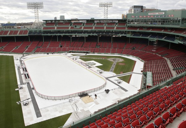 An ice rink covers the infield area in Fenway Park Wednesday, Dec. 28, 2011, in Boston. Two years after the NHL's Winter Classic was played there, the ballpark will host a series of skating events and hockey games during January 2012, including a Hockey East doubleheader featuring Vermont vs. Massachusetts and New Hampshire vs. Maine on Jan. 7, 2012.