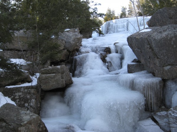 The Canon Brook Trail in Acadia is renowned for ice. Don't try to ascend this trail unless you're equipped with aggressive mountaineering crampons. Some trails in Acadia become impassable due to ice build-up.