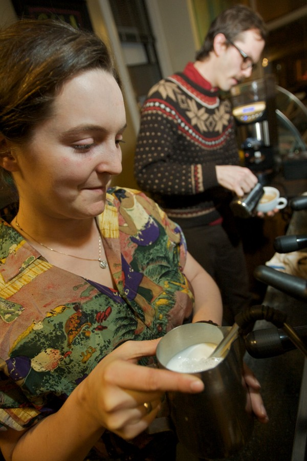 Ceilidh Kane and Luke Streckfuss steam and pour milk into lattes, leaving designs on the surface of the foam. Contestants pay $5 to enter and all proceeds go to benefit Coffee Kids, and organization working to promote family education, health and financial security in coffee growing Latin American countries. Streckfuss went on to win the competition.