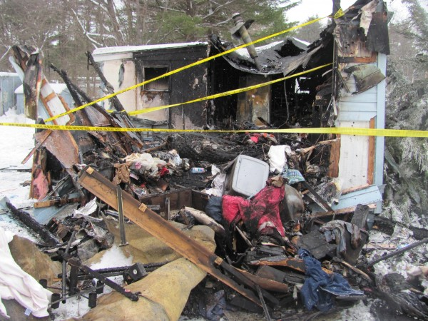 The mobile home at 5 Larry Drive in Lisbon was completely destroyed in a Monday morning fire.