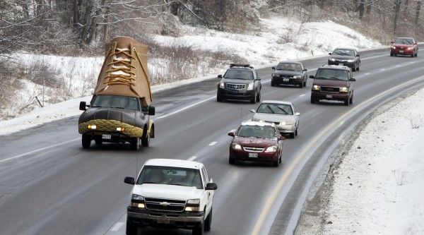 The L.L. Bean Bootmobile heads southbound on Route 295 on its way to the headquarters of the outdoor retailer in Freeport on Tuesday, Jan. 17, 2012.
