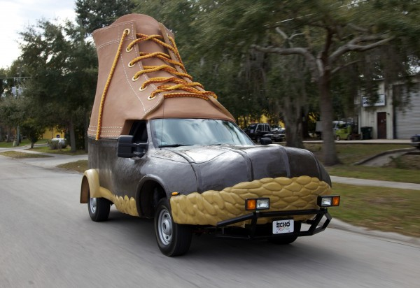 The Bootmobile is driven down a street in Florida.