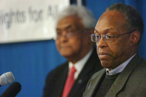 George Mathis (right), acting President of the Greater Bangor NAACP, and Robert Talbot, an executive board member of the Greater Bangor Area NAACP, delivered welcoming remarks at the 16th annual Martin Luther King Jr. Breakfast at the University of Maine in Orono Monday, Jan. 16, 2012.