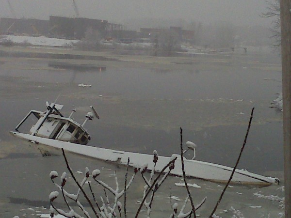 The Roamer, which ran aground months ago, still sits in a cove near the Hampden-Bangor town line on Friday, Dec. 23, 2011.