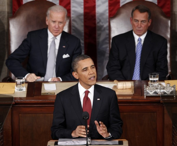Vice President Joe Biden and House Speaker John Boehner of Ohio listen as President Barack Obama gives his State of the Union address on Capitol Hill  in Washington on Tuesday, Jan. 24, 2012.