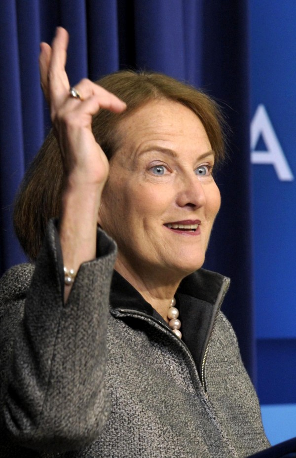 In this Jan. 11, 2012 file photo, Small Business Administrator Karen Mills speaks  at the White House in Washington. The White House announced, Friday, Jan. 13, 2012, that Mills would be elevated to Cabinet-level status.