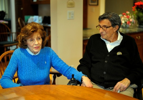 "At their home in State College, Pa., Sue Paterno, left, Joe Paterno's wife of 50 years, says of the manner in which Joe was fired from Penn State: ""After 61 years he deserved better."""