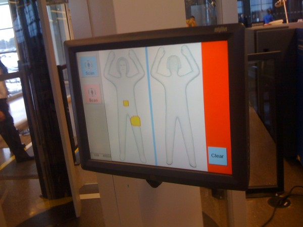 A monitor shows what TSA agents see when an airplane passenger passes through the new full-body scanners installed last week at Portland International Jetport.