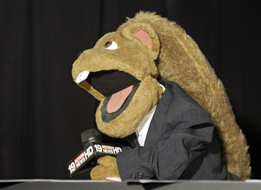 A puppet reporter is shown during taping at WOIO-TV in Cleveland Thursday, Jan. 19, 2012. The station uses the puppets performing as witnesses, reporters and jurors to detail the corruption trial against former Cuyahoga county commissioner Jimmy Dimora, which began last week in federal court in Akron.