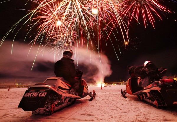 Fireworks explode over Rangeley Lake to cap off the Snodeo festivities Saturday, Jan. 21, 2012, in Rangeley, Maine. The annual winter celebration brought hundreds of snowmobilers to town.
