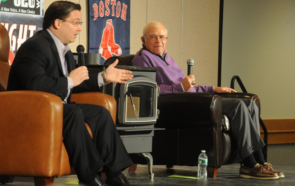 Boston Red Sox sportscasters Dave O'Brien (left) and Joe Castiglione field questions from the audience at the WZON Hot Stove Baseball Night last January at the Bangor Civic Center. The duo will return to Bangor for the ninth WZON Hot Stove Night on Thursday, Jan. 24.
