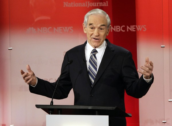 Republican presidential candidate Rep. Ron Paul, R-Texas, gestures during a Republican Presidential debate Monday, Jan. 23, 2012, at the University of South Florida in Tampa, Fla.