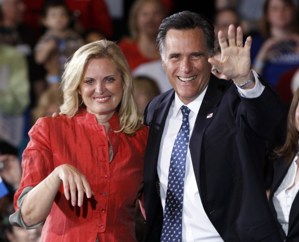 Republican presidential candidate former Massachusetts Gov. Mitt Romney and his wife, Ann, celebrate his Florida primary election win at the Tampa Convention Center in Tampa, Fla., Tuesday, Jan. 31, 2012.