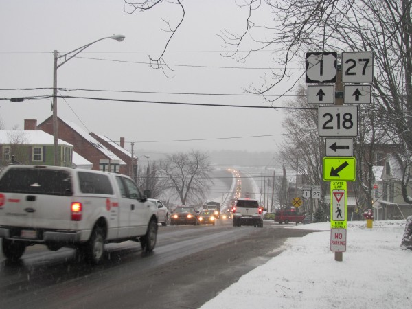 Even on an off-season, snowy day on Friday, Jan. 6, 2012, Route 1 through downtown Wiscasset is busy with traffic and pedestrians.