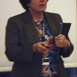SAD 40 Superintendent Susan Pratt details her proposed 2012-2013 budget during the Jan. 31 district board meeting.