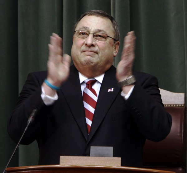 Maine Gov. Paul LePage acknowledges members in the gallery before delivering his first State of the State address at the State House in Augusta on Tuesday, Jan. 24, 2012.